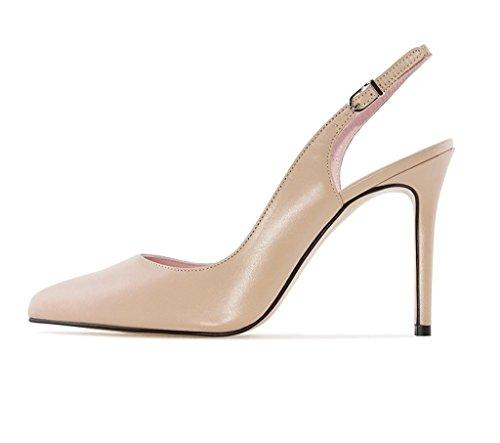 EKS Damen Elegante Spitzschuh Dünne Fersen Slingback Matte Dress Court Schuhe Aprikose2