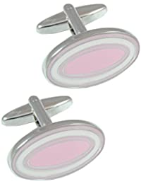 COLLAR AND CUFFS LONDON - PREMIUM Cufflinks WITH PRESENTATION GIFT BOX - High Quality - Dual Colour Oval - Solid Brass - Classic Style - Pink and White Colours
