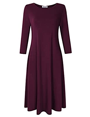 MISSKY Women's Basic Casual Loose Midi Dress (UK 8-28 Size)
