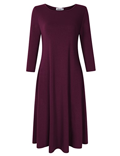 - 31Vx7fUM2uL - MISSKY Women's 3/4 Long Sleeve Swing Loose Plain Midi Dress