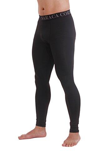Saraca Core Männer lang Unterhose Unterwäsche Strumpfhose Herren Kompressions Leggings Pants Hosen(Schwarz, L) (Strumpfhosen Entworfen)