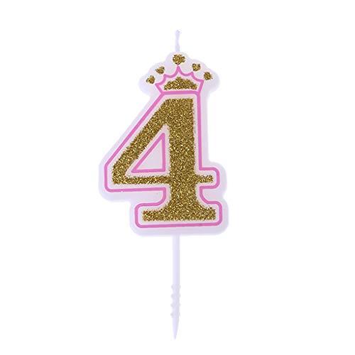 Chiic Vela - Corona de purpurina para tartas de cumpleaños con números 0 a 9, ideal como accesorio de cumpleaños PK 4