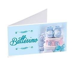 Idea Regalo - Gicaprice 50 BIGLIETTINI BOMBONIERA Battesimo Bambino Personalizzati
