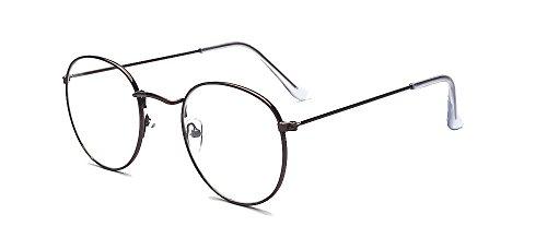 ALWAYSUV Modische Runde Braun Rahmen Brillenfassung Klare Linse Brille Nerdbrille