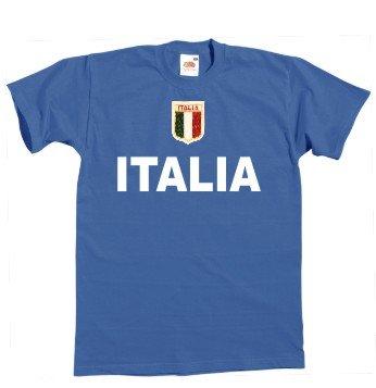 Italia/Italien T-Shirt + gesticktes Wappen S-XXL Blau M
