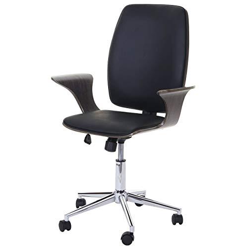 Chaise de Bureau HWC-C54, Bois courbé, Chaise pivotante, Similicuir ~ Design Bois de Noyer, Tissu Noir