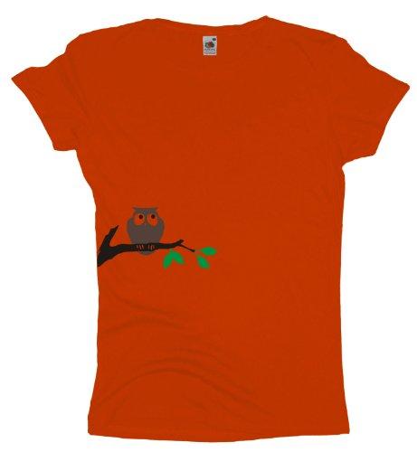 Ma2ca - Eule auf Ast - Damen Girlie T-Shirt Orange