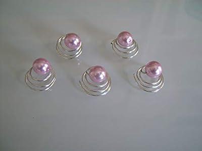 lot 5 spirales Rose clair tendre pâle pastel poudre Pics/pinces/épingles/accessoires cheveux courts/détachés p robe Mariée/Mariage/Soirée/Réveillon/Fêtes femme (pas cher)