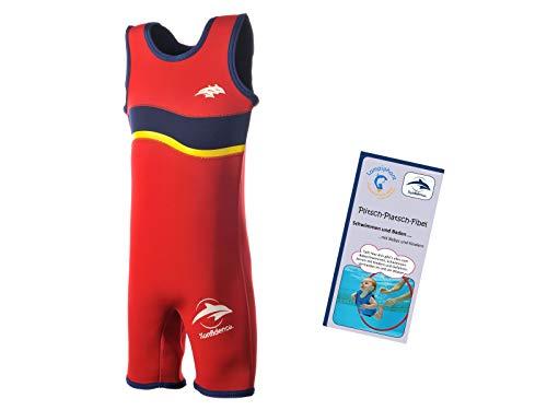 Lampiphant® + Konfidence Warma Wetsuit, Kinder-Badeanzug aus Neopren mit Plitsch-Platsch-Fibel, Rot/Navy, Größe 6-7 ()