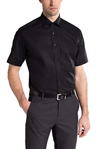 eterna Kurzarm Hemd Modern Fit Popeline Unifarben, Gr. 41, 99 schwarz - Kurzarm-hemd Mit Krawatte