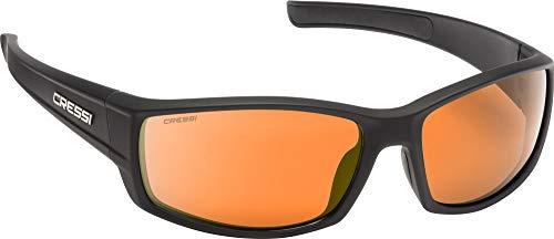 Cressi Unisex- Erwachsene Hunter Sunglasses Sport Sonnenbrille, Schwarz/Verspiegelte Linsen Orange, One Size