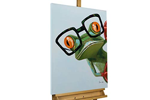 KunstLoft® Acryl Gemälde 'Funky Frog' 60x80cm | original handgemalte Leinwand Bilder XXL | Frosch Brille Grün Lustig Deko | Wandbild Acrylbild Moderne Kunst einteilig mit Rahmen