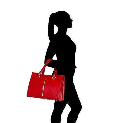Borsa a Mano da Donna in Vera Pelle Made in Italy Chicca Borse 38x27x12 Cm Rosso