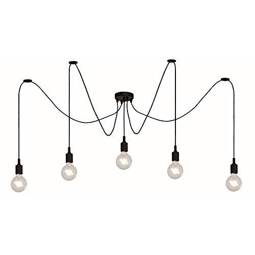 Luminaire Suspendu Fix Multiples de Lucide Suspensions Noir 5xE27 max.60W Suspension Moderne Lampe Suspendue Lampe de Salon + Gratuit Testeur de Tension