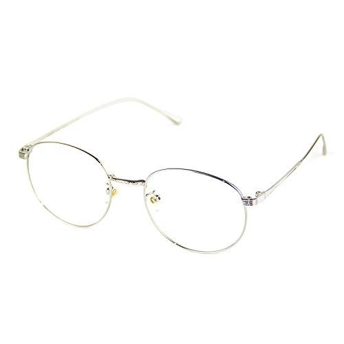 Cyxus Anti Blaues Licht Brille Anti-Augen-Ermüdung [Klare Linse] Computerbrillen Retro Runden Metall Silber Rahmen Unisex Brillen zum Männer und Frauen