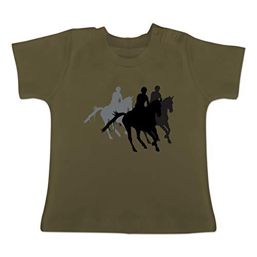 Sport Baby - Freizeitreiten Ausreiten Reiten - 6-12 Monate - Olivgrün - BZ02 - Baby T-Shirt Kurzarm