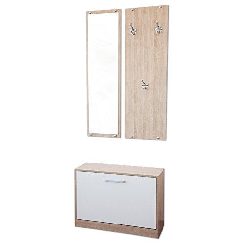 Garderoben-Set 3-teilig PISA (Kerneiche Sonoma Eiche / Weiß) mit nässebeständigen und kratzfesten Melaminbeschichtung