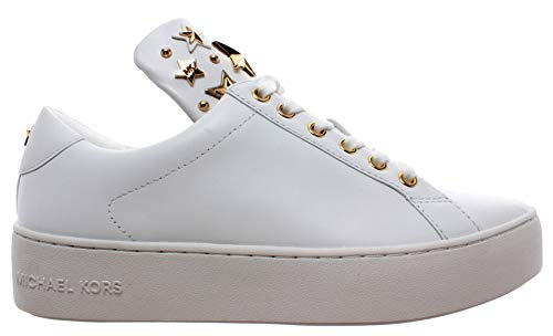 Michael Kors Mindy Lace Up Leather 43R9MNFS6L Optic White Gold Damen Schuhe