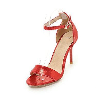 pwne Scarpe Donna Sandali Comfort Similpelle Primavera Estate Autunno Office &Amp; Carriera Abito Casual Fibbia Stiletto Heel Rosso Argento Oro Nero 3A-3 3/4In US7.5 / EU38 / UK5.5 / CN38