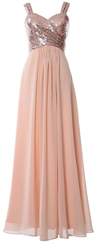 MACloth Women Straps Sequin Long Bridesmaid Dress Cowl Back Wedding Formal Gown Rose Gold