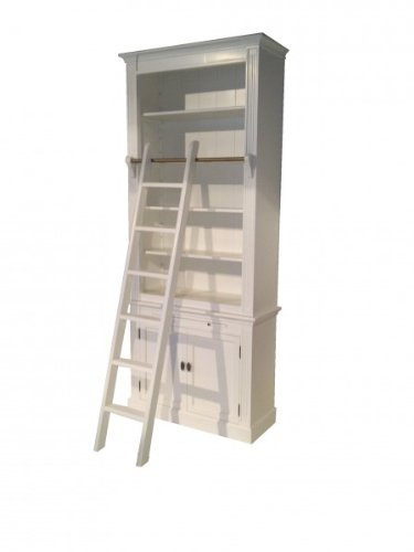Casa-Padrino Bookcase in country-house style (B 100 x D 36 x H 240) with ladder (H 100 cm) white Antique look - shabby-chic shelf, bookcase