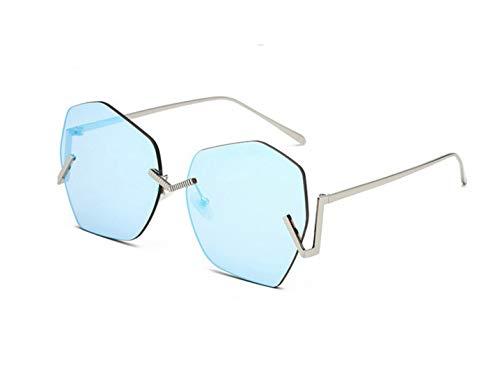 Polarisierte Sonnenbrille mit UV-Schutz Persönlichkeit Frameless Unregelmäßige Dame Sonnenbrille Polygon Große Bunte Linse Sonnenbrille Für Frauen Männer Unisex UV Schutz Für Fahren Reisen. Superleich