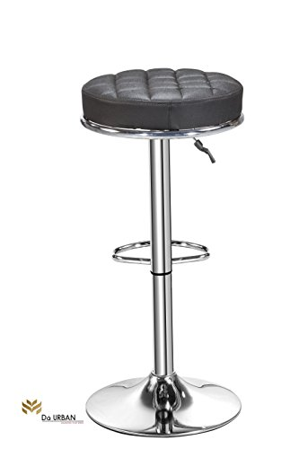 Da URBAN- (Set of 2) Height Adjustable Stool- Kitchen Stool/ Office Stool/ Chair/ Cafeteria Stool/ Bar Stool (Black)