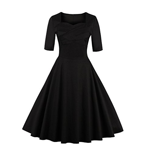 Dissa M1316A femme Rockabilly Robe de Soiré cocktail Robe de Bal Retro Noir