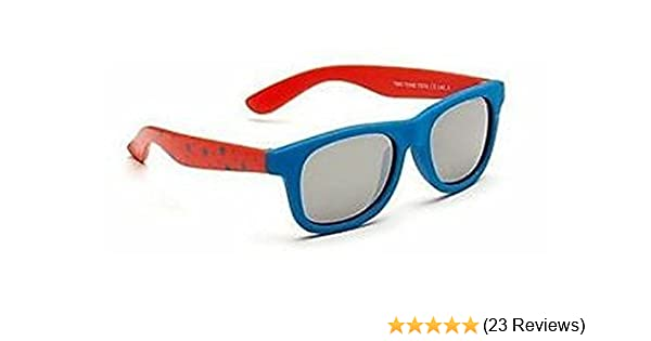 b324be3ece5d Baby Toddler Blue & Red Wayfarer Sunglasses with Soft Durable Plastic Frame  and Black Smoked Lenses Providing Full UV 100% Protection Ideal for 0 to 3  Years