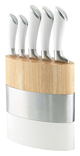 Richardson Sheffield Fusion Fashion Modern Kitchen Knife Block Set, White, Set of 5