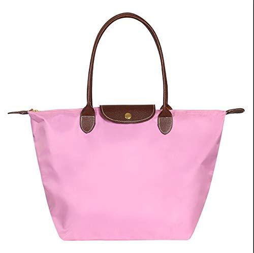 EXQULEG Tragetasche, Schultertaschen Damen Wasserdichte Handtaschen aus Nylon Umhaengetasche Strand Tasche (medium, Rosa) -