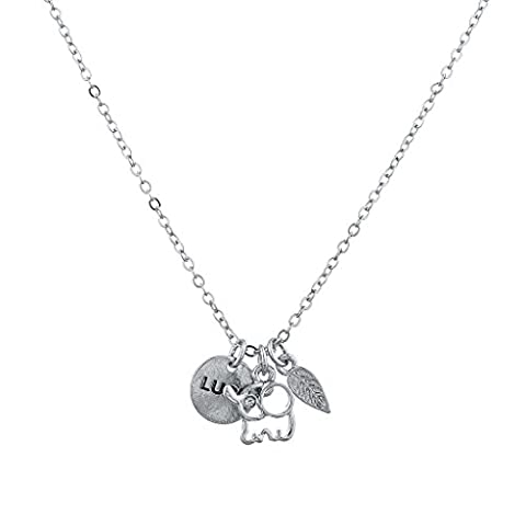 Lux Accessories Silvertone Boho Good Luck Charm Elephant Leaf Verbiage Necklace