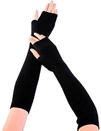 Frauen PU Leder Ellenbogen lange Fingerlose Handschuhe fahren Armwärmer