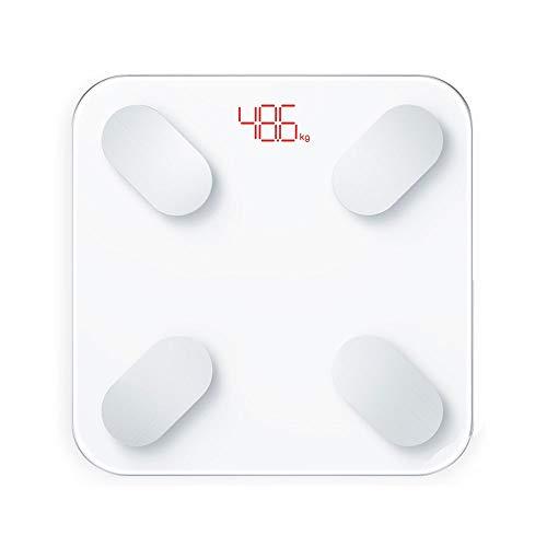 DEI QI Körperfettwaage mit iOS- und Android-App, Smart BMI-Waage, Digital Wireless Bathroom Weight Scale und Body Composition Monitor Analyzer (Farbe : Weiß)