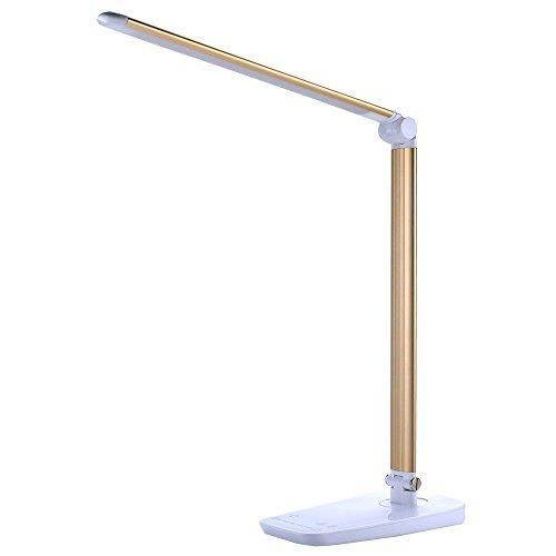 ZoomZam 10W Dimmbare Augenpflege LED Schreibtischlampe Lern-Lampe Leselampe mit USB-Ladeanschluss (7 Farbmodi x 5 dimmbare Stufen, blendfrei, Memory-Funktion, Touch-Empfindliche Steuerung) Gold