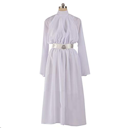 Cosplay Kostüm Leia - nihiug Star Wars Prinzessin Leia Cosplay Kostüme Damen Full Set Custom Halloween Kostüme,White-M(163to167)
