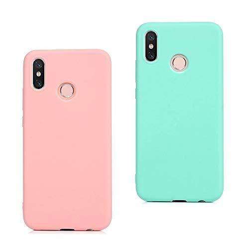EuCase 2X Funda Xiaomi Redmi Note 7 Silicona Carcasa Redmi Note 7 Antigolpes Suave TPU Flexible Goma Mate Ultra Delgada Goma Color Cubierta Protector Case para Caja Tapa Carcasa Rosa Verde