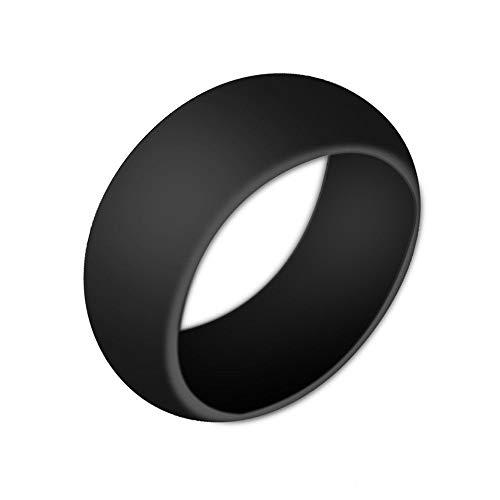 Boolavard Silikon Ehering für Männer und Frauen Preiswerte Silikon Gummiband, 7 Pack, 5 Pack & Singles - Weiß, Grau, Silber, Blau (Schwarz, 10-19.80mm) (Für Silikon-eheringe Frauen)