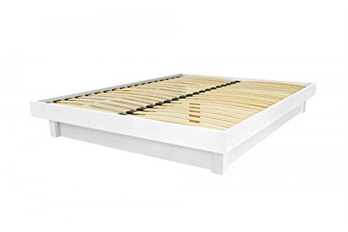 ABC MEUBLES Bett Plattform in Massivholz Billig - Plat - Weiß, 160x200 (Plattform-bett-schlafzimmer)