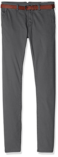 TOM TAILOR DENIM Herren Hose Compressed Skinny Chino with Belt Grau (Somber Grey 2801), W29/L32 (Herstellergröße: 29)