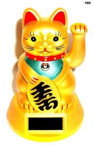 Solar Winkekatze Glückskatze Katze Reichtum Maneki Neko Feng Shui Glücksbringer (Katzen Shui Feng)