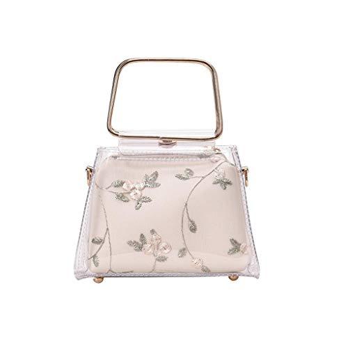 SuperSU Handtaschen Damen ▶▷Frauen Zwei Schichten Henkeltaschen Durchsichtig Stickerei mit Schnalle Umhängetasche, Freizeit Wild Geschenk Beuteltasche Münztasche Schultertasche -