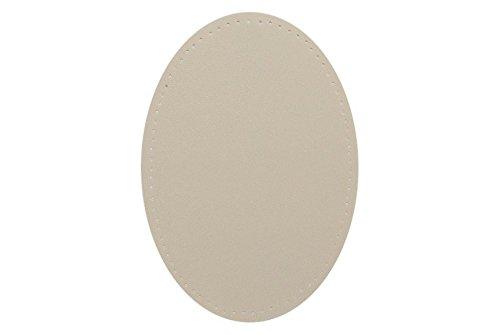 alles-meine.de GmbH ovaler Flicken - beige creme Leder 9,6 cm * 14,4 cm zum Aufnähen - Aufnäher...