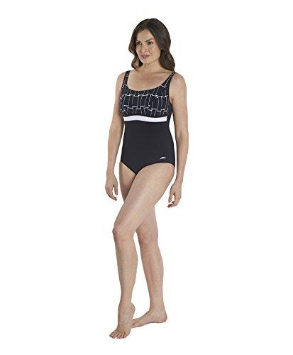 Speedo, Costume da bagno intero Donna Contour, Nero (Black/White), 42 Nero (Black/White)