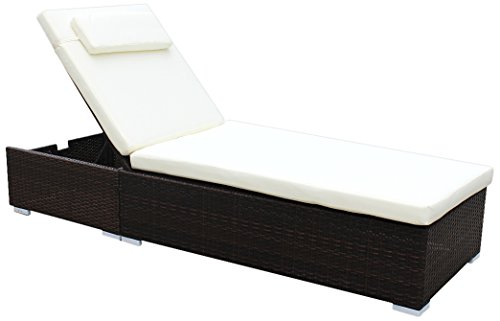 floristikvergleich.de Brema 052262 Alu-Geflecht Liege Gestell braun, Kissen beige, Rückenlehne verstellbar
