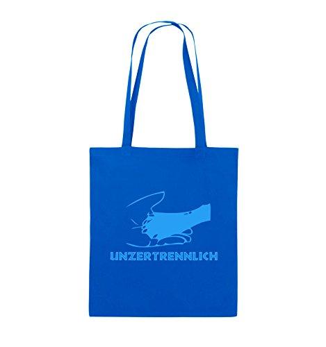 Comedy Bags - UNZERTRENNLICH - HAND PFOTE Hundeliebe - Jutebeutel - lange Henkel - 38x42cm - Farbe: Schwarz / Pink Royalblau / Blau