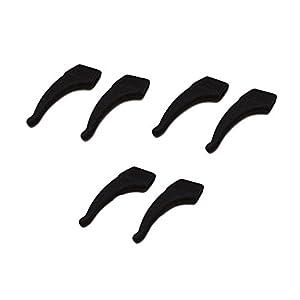 3 Paar Anti-Rutsch-Sleeve Halter Brillen Retainer-Ohr-Haken-Verschluss Schwarz