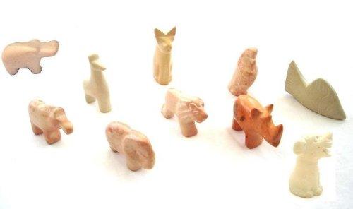 Katangi Handcrafts Set of 10 Handmade Miniature Soapstone Animals