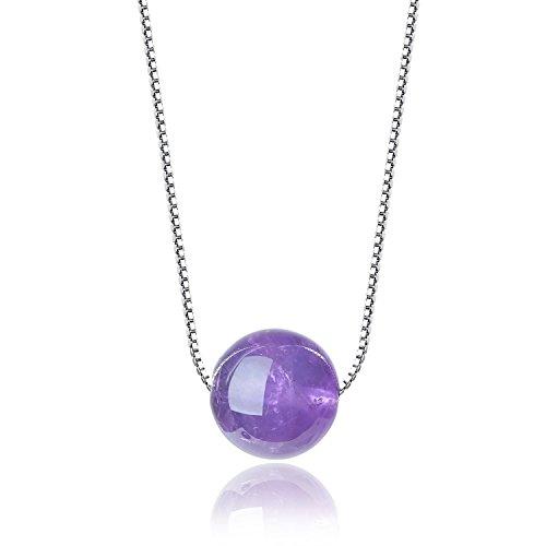 coai Geschenkideen Amethyst Perle Anhänger Geburtssteinkette Silver Platinum-Plated Halskette für Frauen Damen