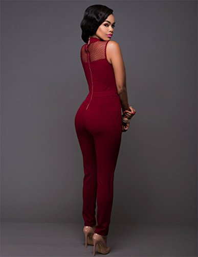 Womens Sexy Retro ärmel-Riemen mit hoher Taille, figurbetontes Diskothek Jumpsuit Rot